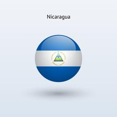 Nicaragua round flag. Vector illustration.
