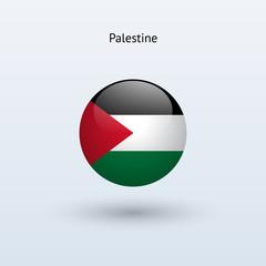 Palestine round flag. Vector illustration.