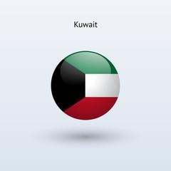 Kuwait round flag. Vector illustration.