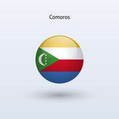 Comoros round flag. Vector illustration.