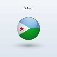Djibouti round flag. Vector illustration.