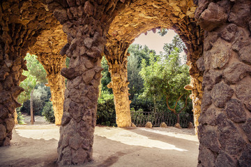 ancient aqueduct in the park Guell