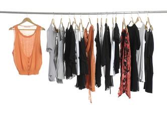 female fashion clothing on hangers