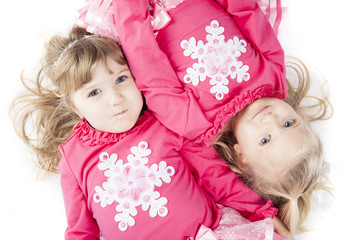 Sisters in Matching Winter Outfits