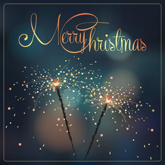 Christmas illustration with sparklers