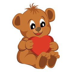 Bear toy with heart on a white background. Vector illustration.