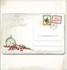 Vintage Christmas Postcard and Stamps