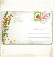 Vintage Christmas Postcard and Stamps