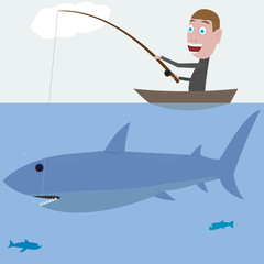 fisherman hunting a big shark. vector illustration EPS-8