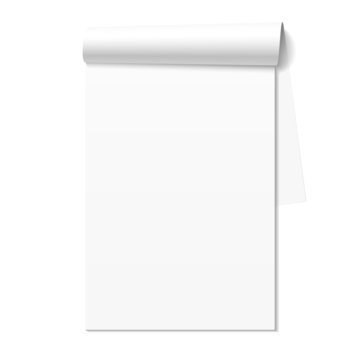 Blank white notepad, notebook