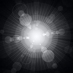 White shining circles and stars gray background