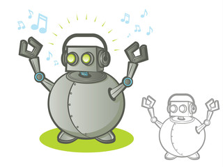 Robot character listening to music