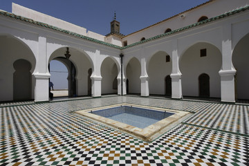 Photo on textile frame Algeria Sidi Boumediene Madrasa courtyard, Algeria