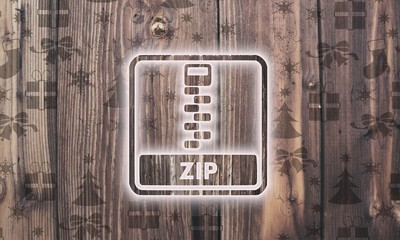 wooden zip file symbol with presents