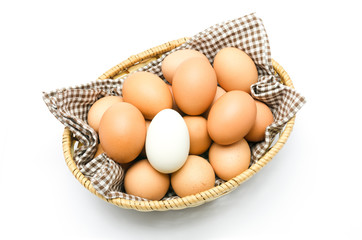 Egg in a basket with brown cloth.