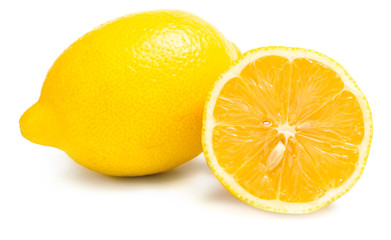 Close up of two lemons and one is cut, isolated on white