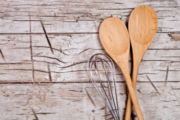 spoons and wire whisk
