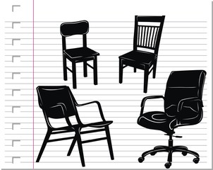 black chair on paper