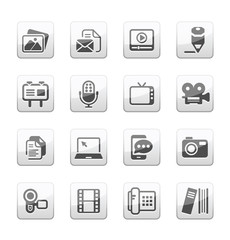 Multimedia and business Icons silver gray series
