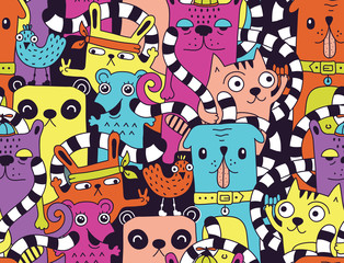 Wall Mural - Seamless pattern with cute funny animals
