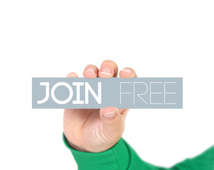 woman holding a label with  Join free