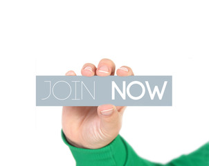 woman holding a label with  Join now