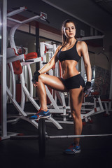 Wall Mural - Sporty woman in the gym with exercise equipment and barbell