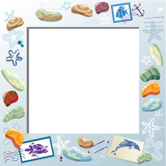 Blank Photo Frame with Colorful Sea Stones, Starfishes, Mail Sta