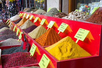Spices on sale market, Antalya, Turkey