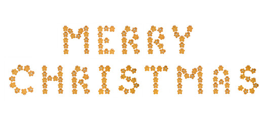 Merry Christmas sign made of ginger cookies on white