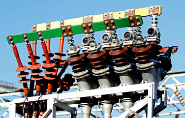 high-voltage electric cables in a power plant to produce electri