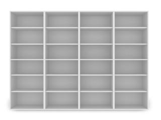3d white empty shelf