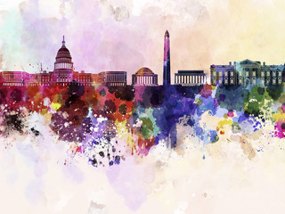 Wall Mural - Washington DC skyline in watercolor background