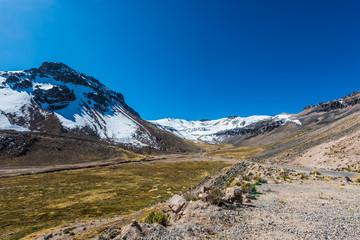 road in Aguada Blanca in the peruvian Andes at Arequipa Peru