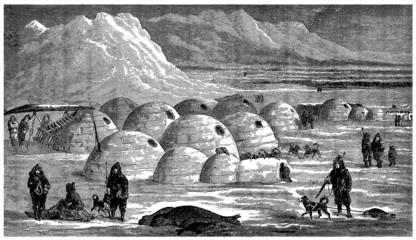 Foto auf Gartenposter Pole Inuits : Igloo Village
