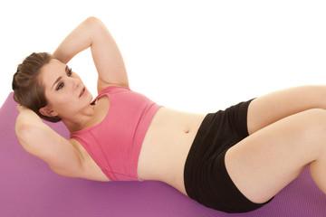 woman pink sports bra crunch top view