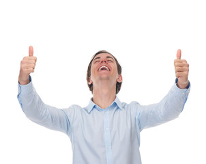 Portrait of a cheerful man posing with thumbs up