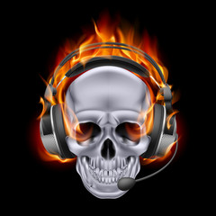 Fiery skull in headphones.