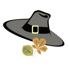 Thanksgiving pilgrim hat with autumn leaves