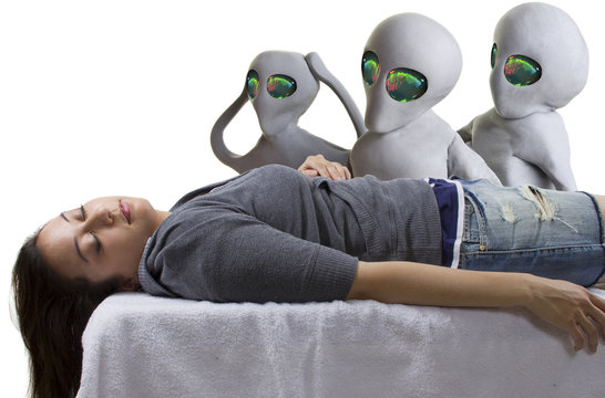 young woman is the victim of an alien abduction
