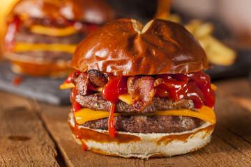 Unhealthy Homemade Barbecue Bacon Cheeseburger
