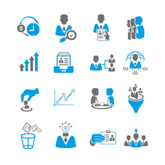 office and business management icon set, blue theme