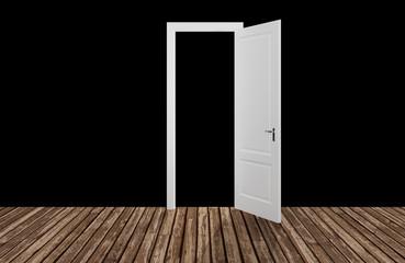 black space behind the opening door,3D