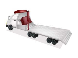 A Tractor Trailer Flatbed on White Background