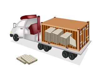 A Trailer Loading Wooden Palettes in Cargo Container