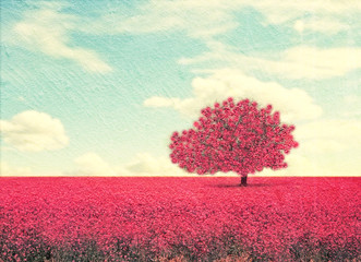 pink tree in a pink field