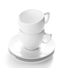 White cups isolated on white