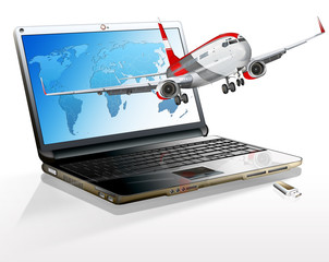Laptop mit Flugzeug freigestellt