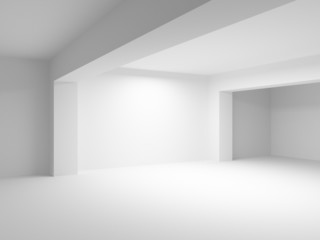 Abstract 3d white architecture background. Empty room interior