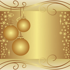 Golden xmas Background with Balls and Snowflakes.
